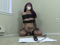 Krysta Kaos - Orgasm Challenge - Vet Wrap And Micro Foam Gag