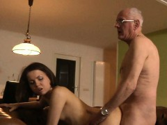 Lucky Grandpa Fucks Teenie And Cums On Her Face
