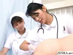 Japan nurses examine patents anus while pumping cock