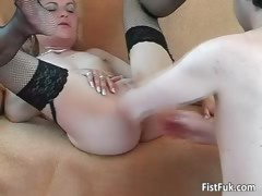 Blonde slut in stocking spreads legs part6