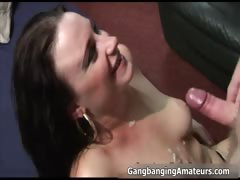 Nasty brunette amateur whore sucking part3