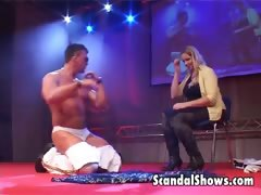Male striper gives hot lap dance