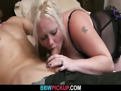 Blonde plumper jumps on stranger&#039;s cock