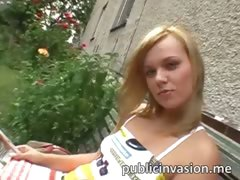 Fresh blonde hottie jizzed on in public
