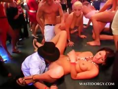 Orgy blonde slut in stockings gets mouth and cunt fucked