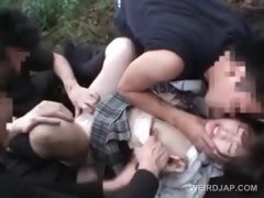 Asian teen girl gets pussy banged in 3some outdoor